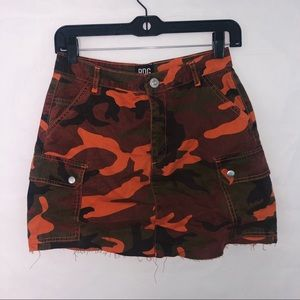 Urban Outfitters BDG Orange Camouflage Skirt